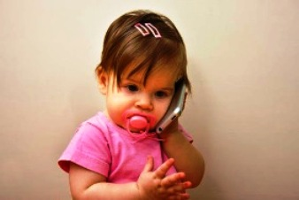 a child with mobile phone