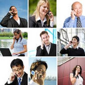 employees on their mobile phones